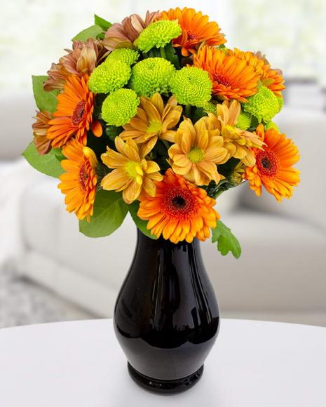 Buchet crizanteme și gerbera