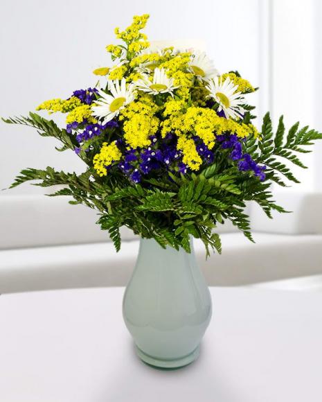 Buchet Solidago, Limonium și flori albe