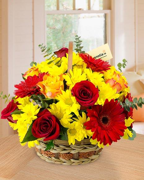 Coş crizanteme, gerbera şi trandafiri