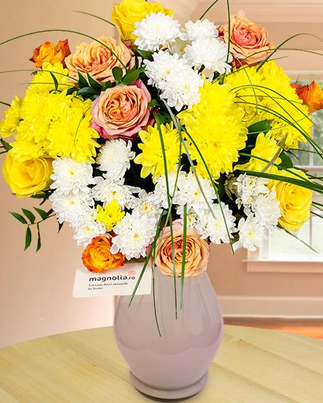 Buchet cu flori galbene şi orange