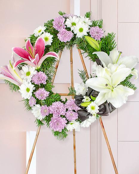 Jerbă funerară cu crini şi crizanteme