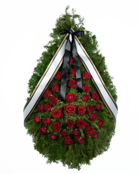 Coroana funerara cu trandafiri rosii