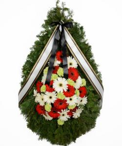 Coroana funerara cu gerbera si garoafe