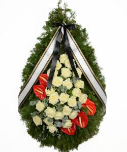 Coroana funerara cu anthurium rosu