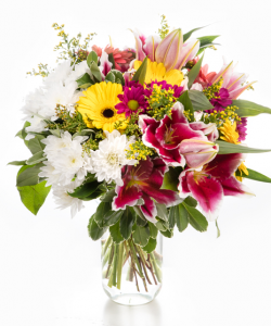 Buchet cu gerbera şi crizanteme