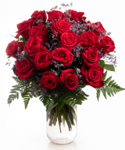 Red roses and limonium bouquet