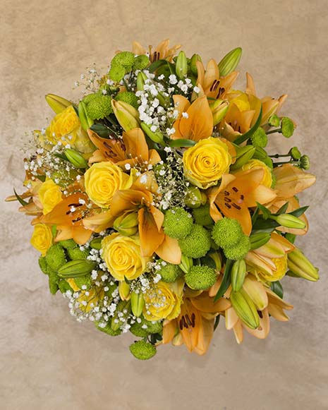 Buchet de lux cu crini şi trandafiri