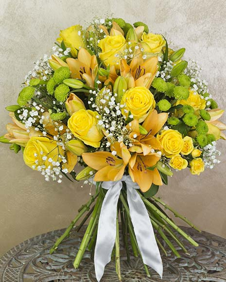 Luxury bouquet with lilies and roses
