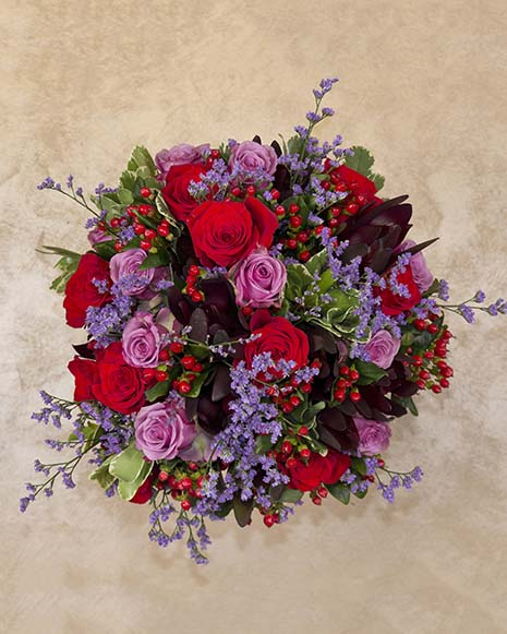 Luxury bouquet with roses and hypericum