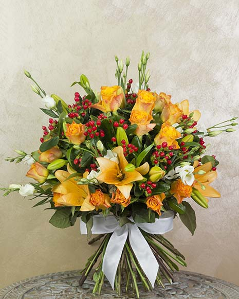 Luxury bouquet with lilies and eustoma