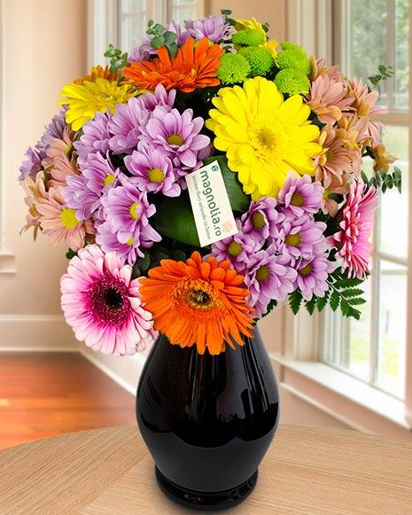 Buchet colorat crizanteme si gerbera