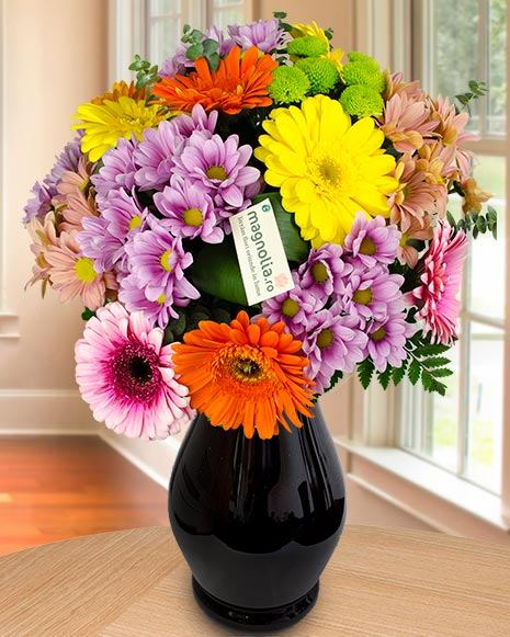 Chrysanthemums and gerbera colorful bouquet