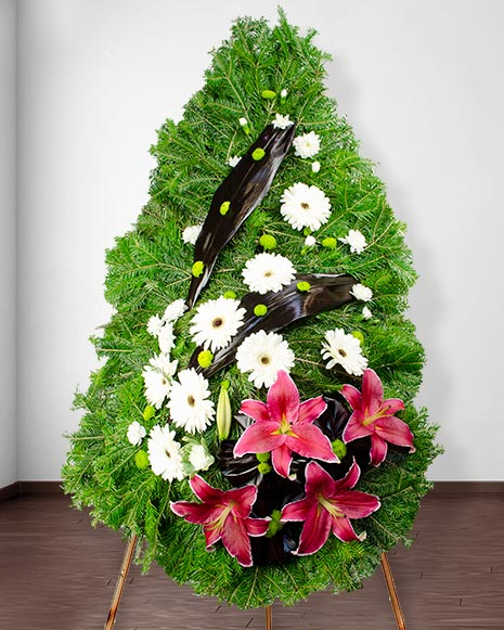 Funeral wreath with oriental lilies
