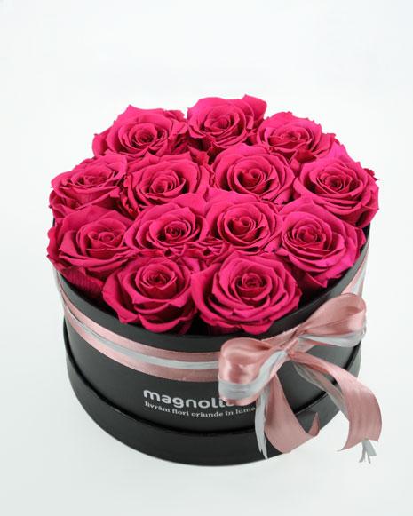 Aranjament trandafiri criogenati si sampanie