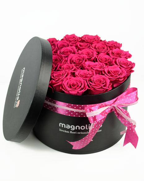 Cutie 25 trandafiri criogenati roz si sampanie