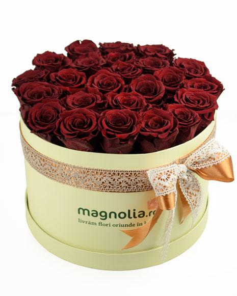 Cutie cu 25 trandafiri conservati rosii si sampanie