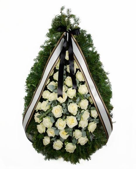 Coroana funerara cu trandafiri albi