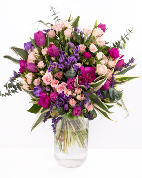 Bouquet with miniature roses, freesias and tulips