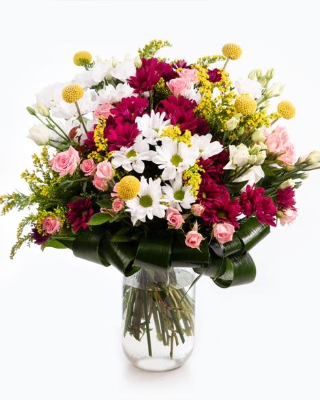 Buchet crizanteme și trandafiri roz