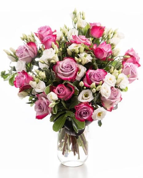Buchet cu trandafiri mov si eustoma