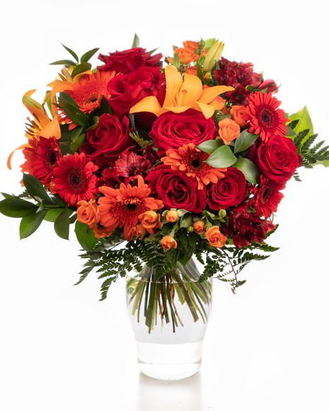 Bouquet with red and orange flowers