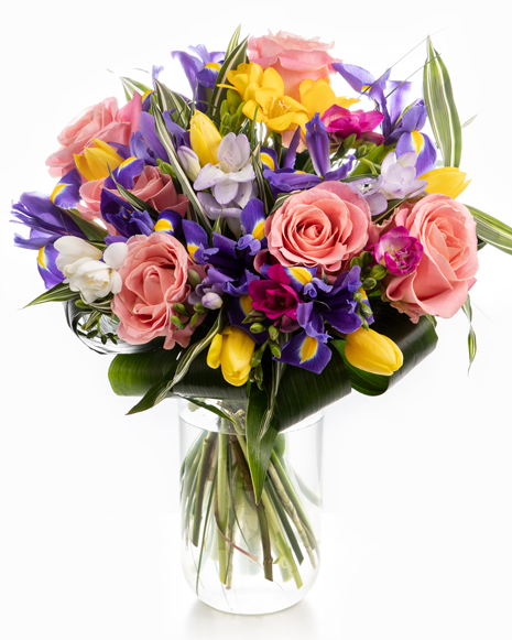 Irises, tulips and freesias bouquet