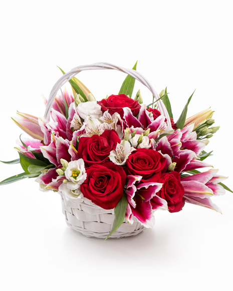 Classy basket with roses and eustoma