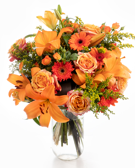 Bouquet of orange gerberas and lilies
