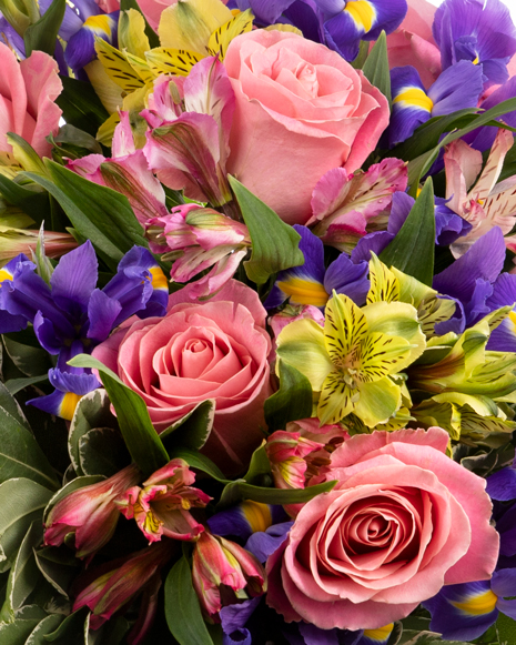 Bouquet of pink roses and irises