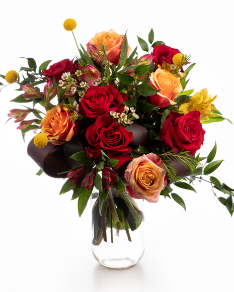 Bouquet with roses and craspedia