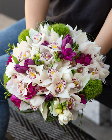 Orchids and freesias bouquet