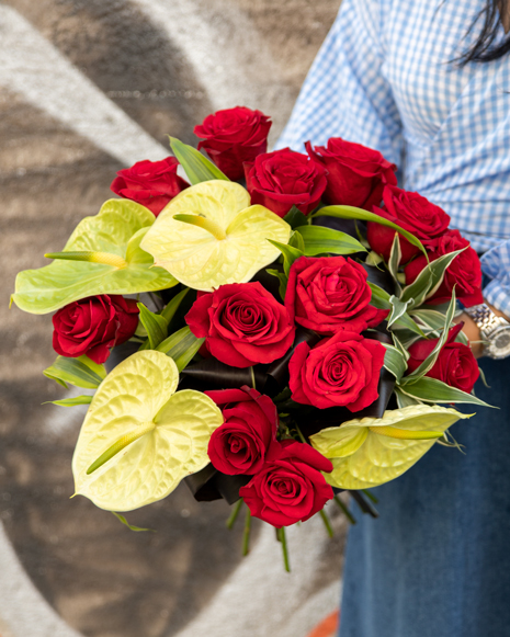 Bouquet with red roses and anthurium