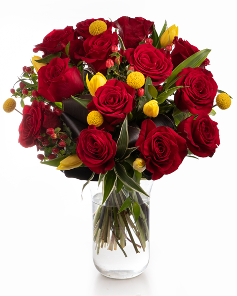 Bouquet with red roses, tulips and craspedia