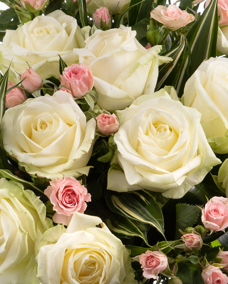 Bouquet with white and pink roses