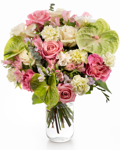 Buchet trandafiri, garoafe și anthurium