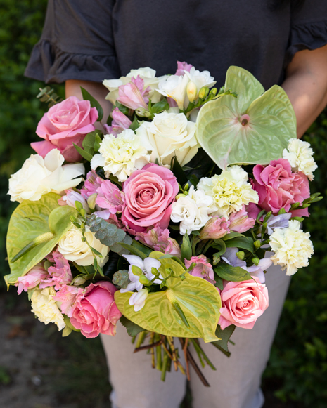 Bouquet with roses, carnation and anthurium