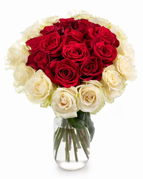 Buchet trandafiri albi si roşii