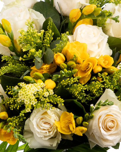 White roses and freesia bouquet