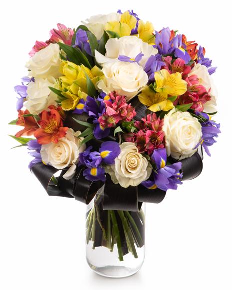 Bouquet of roses alstroemeria and irises
