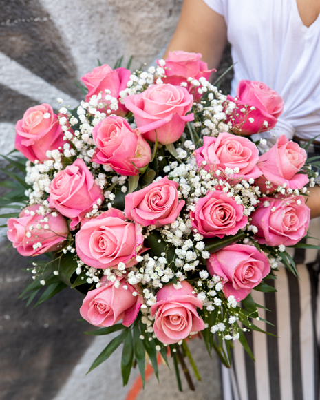 Pink roses and gypsophila bouquet
