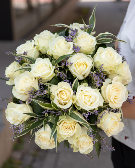White roses and limonium bouquet