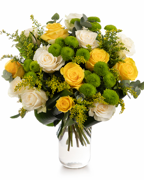 Bouquet with roses and chrysanthemums