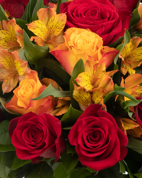 Bouquet of roses and alstroemeria