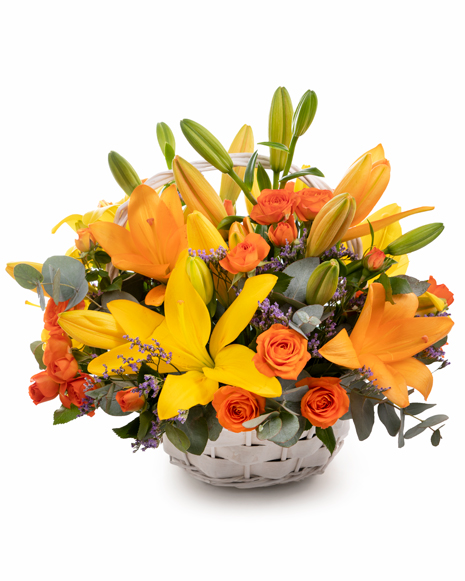 Basket with asian lilies