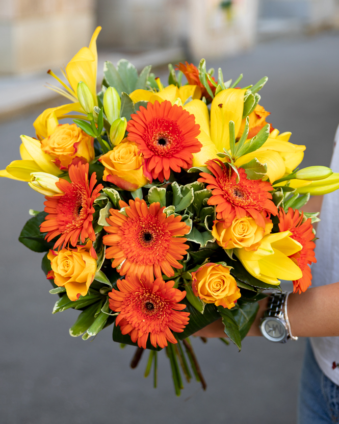 Bouquet with lilies, gerbera and roses