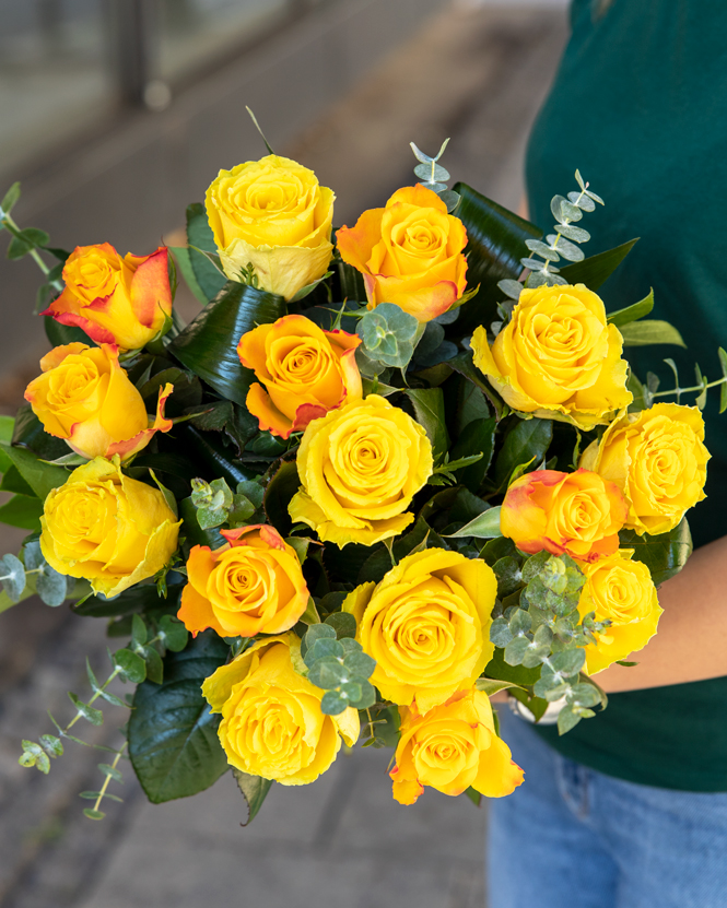 Bouquet with yellow and orange roses