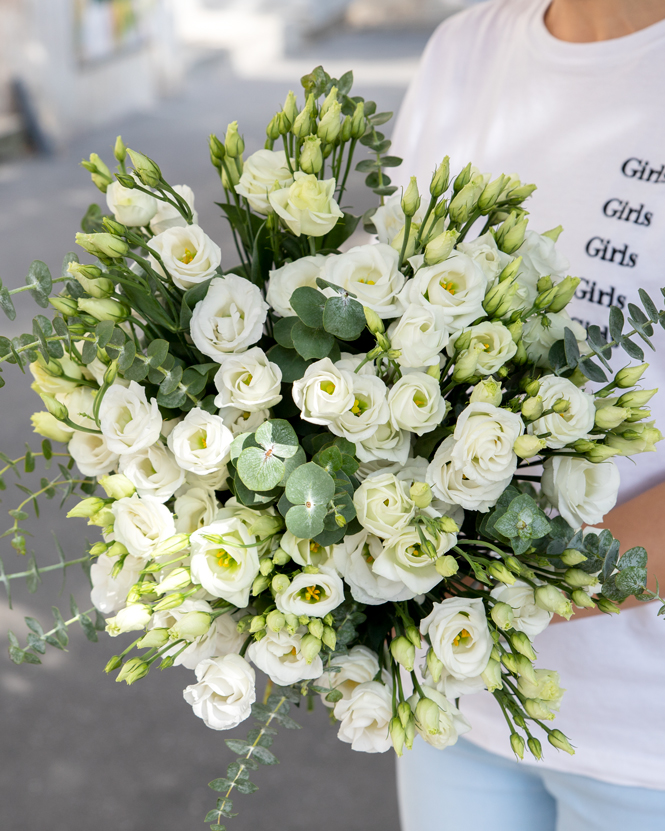 Bouquet with eustoma and eucalyptus