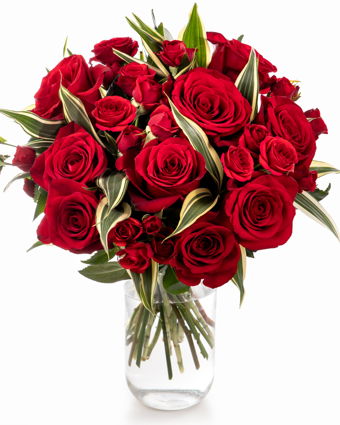 Bouquet with red roses and dracaena