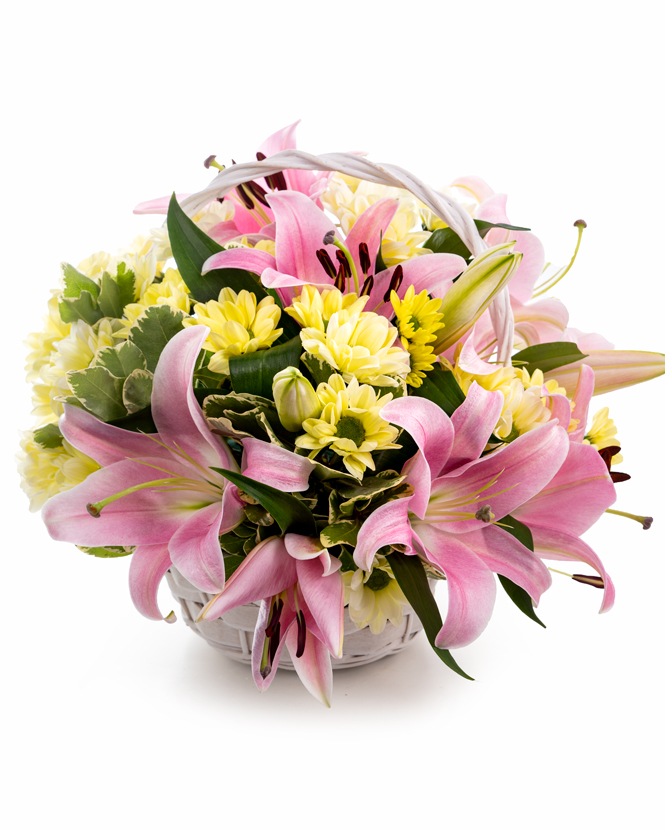 Basket arrangement with lilies