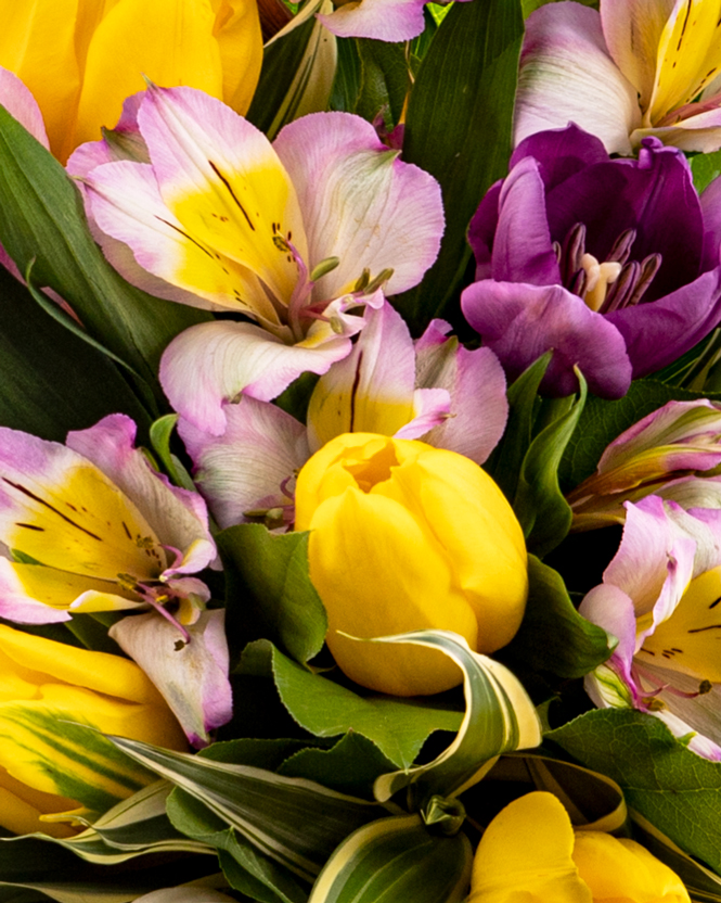 Bouquet with alstroemeria and tulips